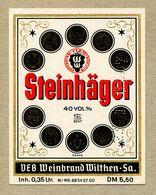 Etiquette Label Germany Wilthen Deutscher Weinbrand Steinhager - Whisky