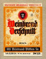 Etiquette Label Germany Wilthen Deutscher Weinbrand - Whisky