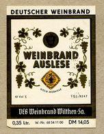 Etiquette Label Germany Wilthen Deutscher Weinbrand Auslese - Whisky