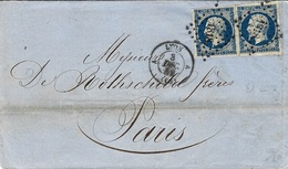 1856- Lettre De LYON A   Cad T15 Affr. Paire N°14 Bleu Foncé Oblit. P C 1818 Pour Paris - 1849-1876: Période Classique