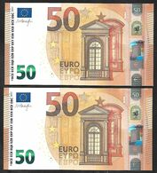 """New Issue! Running Pair Greece """"Y"""" 50  EURO! Draghi  Signature!! UNC  (from Bundle) """"Y"""" Printer  Y003B2 !! - 50 Euro"""