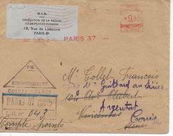 Lettre Recommandée Contre-remboursement 1948 Paris à Vincennes Redirigée Vers Argentat Corrèze - Postmark Collection (Covers)