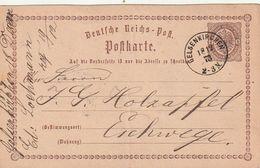 """Deutsches Reich / 1873 / Postkarte Mi. P 1 K1 """"GELSENKIRCHEN"""" (CC75) - Deutschland"""