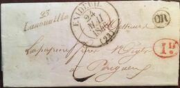 Courrier De 1846, Exp Payzac (Lanouaille, Excideuil), Dest - Périgueux (24 - Dordogne), Cachet Bureau 23 (24 Mai 1846) - Storia Postale