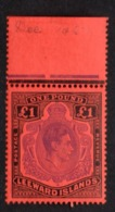 Leeward Islands GV1 £1 Violet & Black/Scarlet Perf 13. SG 114c Unmounted Mint.. - Leeward  Islands