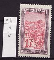 Madagascar - Madagaskar 1908-17 Y&T N°99 - Michel N°78 * - 10c Transport En Filanzane - Madagascar (1889-1960)