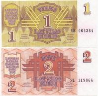 Lettonie Latvia : Série De 2 Billets 1 Rublis & 2 Rubli 1992 UNC - Letland