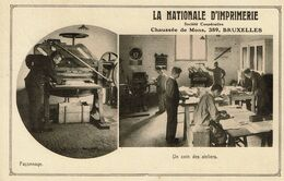 6 Illustrations - La Nationale D'Imprimerie - 389 Chaussée De Mons - Anderlecht - Bruxelles - 3 Scans - Reclame