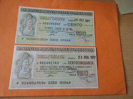 Bank Der Provinz Der Lombarda 150 + 100  Lire 1977 - Altri