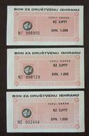 Yugoslavia Serbia 3 Coupons Bon  C1 - Collections, Lots & Séries
