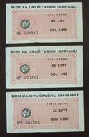 Yugoslavia Serbia 3 Coupons Bon  C2 - Collections, Lots & Séries