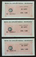 Yugoslavia Serbia 3 Coupons Bon  C3 - Collections, Lots & Séries