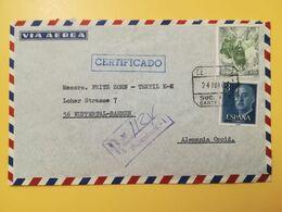 1964 BUSTA INTESTATA RACCOMANDATA SPAGNA ESPANA BOLLO AIRMAIL PAINTINGS ANNULLO OBLITERE' BARCELONA CERTIFICADO - 1931-Today: 2nd Rep - ... Juan Carlos I