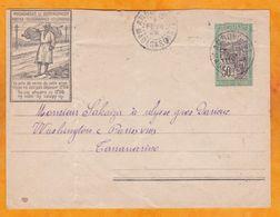 1928 - Enveloppe Entier Postal 50 C D ' Ambovombe Vers Tananarive, Madagascar - Cad Transit Et Arrivée - Madagascar (1889-1960)