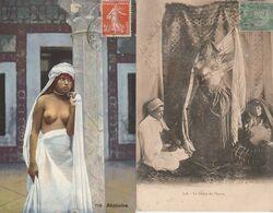 2 CPA  NUES  BEDOUINE + LA DANSE DU VENTRE  SEINS NUS - North Africa