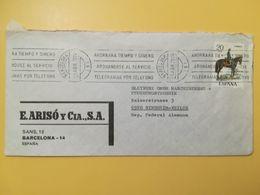1977 BUSTA INTESTATA SPAGNA ESPANA BOLLO UNIFORMI UNIFORM ANNULLO OBLITERE' BARCELONA - 1931-Today: 2nd Rep - ... Juan Carlos I