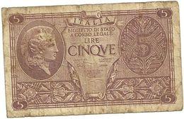 5 LIRE   N. 0876-205058--BIGLIETTO  DI  STATO - [ 1] …-1946: Königreich