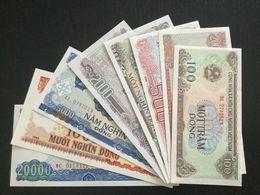 VIETNAM SET 100 200 500 1000 2000 5000 10000 20000 DONG BANKNOTES 1987-1993 UNC - Vietnam