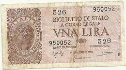 1  LIRA   1944-- BIGLIETTO DI  STATO-- 526  950052 - [ 1] …-1946 : Regno