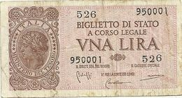 1  LIRA   1944-- BIGLIETTO DI  STATO-- 526  950001 - [ 1] …-1946 : Regno