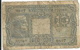 10  LIRE - BIGLIETTO DI  STATO--0807    772069 - Regno D'Italia – 10 Lire