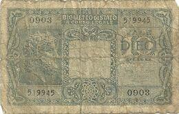 10  LIRE - BIGLIETTO DI  STATO--0903--519945 - Regno D'Italia – 10 Lire