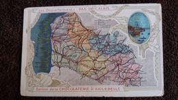 CPA GEOGRAPHIQUE CONTOUR DEPARTEMENT DU PAS DE CALAIS 62 PORT DE BOULOGNE SUR MER ED DE LA CHOCOLATERIE AIGUEBELLE - Landkaarten