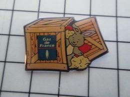 515a Pin's Pins / Beau Et Rare / THEME : EDF GDF / JOUETS EN PELUCHE DANS UNE CAISSE EN BOIS Ich Fragt Mich : WARUM ??? - EDF GDF