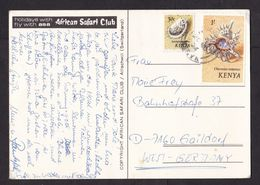 Kenya: Picture Postcard To Germany, 1973, 2 Stamps, Shell, Shells (minor Damage) - Kenya (1963-...)