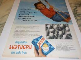 ANCIENNE PUBLICITE PATE ALIMENTAIRE OEUF FRAIS LUSTUCRU 1955 - Affiches