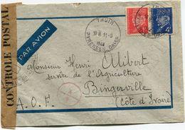 FRANCE LETTRE PAR AVION CENSUREE DEPART THUIR 11-9-1944 PYRENEES-ORles POUR LA COTE D'IVOIRE (A.O.F.) - 1941-42 Pétain