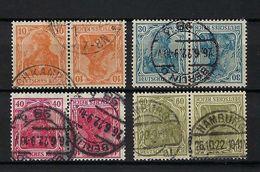 ALLEMAGNE 1920: Les Tête-bêche Y&T 120a, 122a, 123a Et 125a, Obl. CAD - Germany