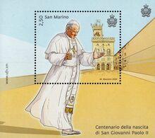 San Marino - 2020 - Centenary Since Birth Of Pope John-Paul II - Mint Souvenir Sheet - Unused Stamps