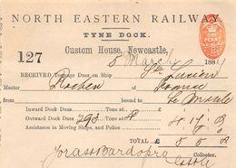 NORTH EASTERN RAILWAY TYNE DOCK RECU  1884  3 MATS ST LUCIEN  CAPITAINE ROCHER - Ver. Königreich
