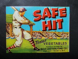 USA - Ancienne étiquette De Caisse De Fruits Et Légumes - (joueur De Baseball) - Frutta E Verdura