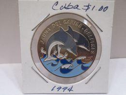 "Cuba, Un Peso 2001, "" FAUNA CUBANA, DELFINES "", UNC, MINT. Gracias Por Visitar Mi Pagina. - Cuba"