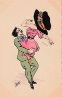 CPA Aquarellée Peinte à La Main Couple Danse Danseur Femme Lady Glamour Women Illustrateur PLUM (2 Scans) - Other Illustrators