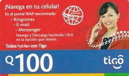 GUATEMALA - Girl On Phone, TIGO Prepaid Card Q100, Exp.date 11/07, Used - Guatemala