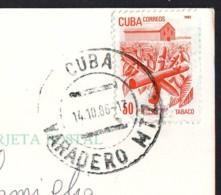 Exportations, Stamp Of Cuba Year 1982  On Postcard - Cartas