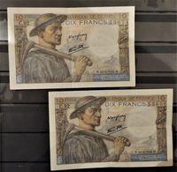 07 - 20 - France  - 2 Billets De 10F - Mineur De 1944 - 1871-1952 Gedurende De XXste In Omloop