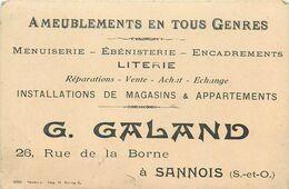 SANNOIS-petit Carton Pub Ameublement G.Galand 26 Rue De La Borne (état) - Sannois