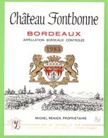 ETIQUETTE DE VIN - BORDEAUX - CHATEAU FONTBONNE - 1985 - Bordeaux