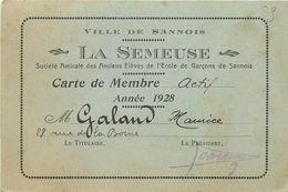 """SANNOIS-petit Carton Pub Amicale Des Anciens élèves De L'école De Garçons """"la Semeuse"""" 1928 - Sannois"""