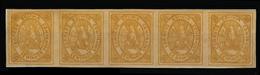 BOLIVIA. 1867-8. Yv 5 (*) (5). 50c. Yelow Horiz Strip Of Five Mint Good Margins Yv 05. 185 + Euros. Opportunity! - Bolivia