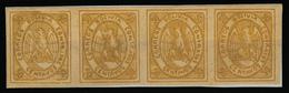BOLIVIA. 1867-8. Yv 5 (*) (4). 50c Yellow Horiz Strip Pf 4 Full Margins. VF. Occasion! - Bolivia