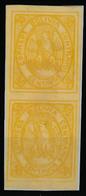 BOLIVIA. 1867-8. Yv 5 (*) (2). 50c. Intense Yellow. Vert Pair / Large Margins. XF. Scarce Shade. Deal! - Bolivia