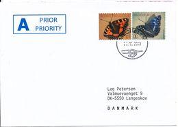 Belgium Cover Sent To Denmark Mechelen 27-11-2013 Topic Stamps BUTTERFLIES - Belgium