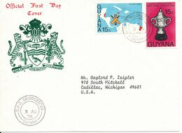 Guyana FDC 3-8-1976 West Indian Victory In Cricket World Cup Complete Set Of 2 With Cachet - Cricket