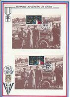 FRANCE - CARTES DE GAULLE OBLI 45E ANNIV DU DEBARQUEMENT ASNELLES + OBLI DEBARQUEMENT ALLIES LION SUR MER 08.06.89 - De Gaulle (Général)