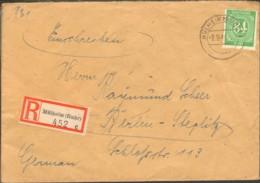 Alli.Bes.84 Pfg.Ziffer Auf Einschreiben-Fernbrief V.1948 Aus Mülheim (Ruhr), Ankunft-Stempel - American,British And Russian Zone